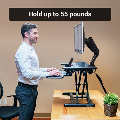 Flexispot EM7 Electric Standing Desk Converter Side View Single Monitor Standing