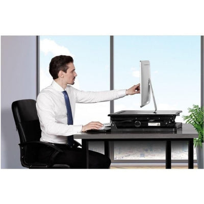 Flexispot M1B 27 inch Standing Desk Converter Sitting Facing Right