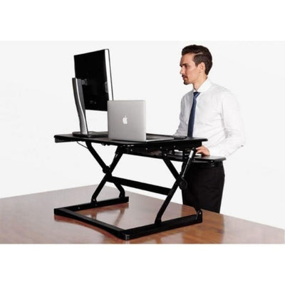 Flexispot M1B 27 inch Standing Desk Converter Standing Facing Left