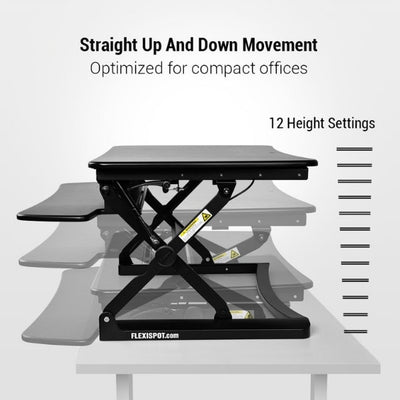 Flexispot M2 35 inch Standing Desk Converter Height Settings