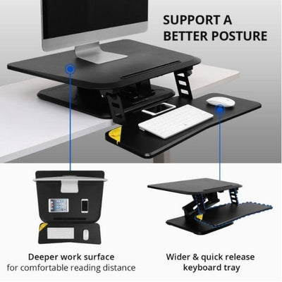 Flexispot M5 Compact Standing Desk Converter 3D View  And Side View Black