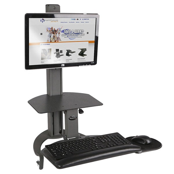 Health Postures Taskmate Go 6300  3D View Keyboard Tray lowered