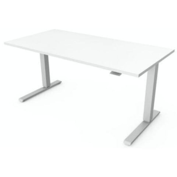 Humanscale Float Desk 3D View White And Gray Frame
