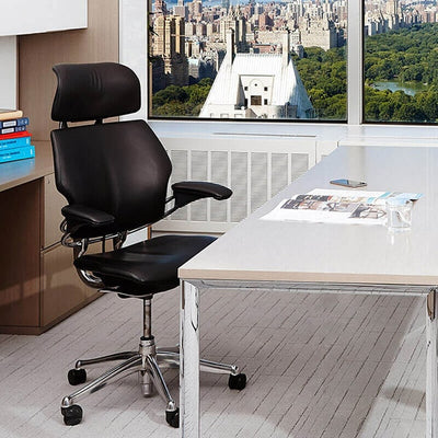 Humanscale Freedom Headrest Task Chair Front View With Desk