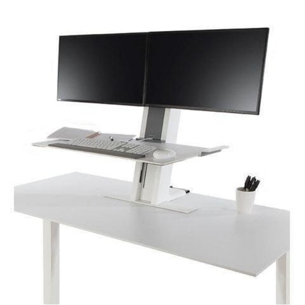 Humanscale QuickStand Dual Monitor Height Adjustable Workstation Front Side VIew