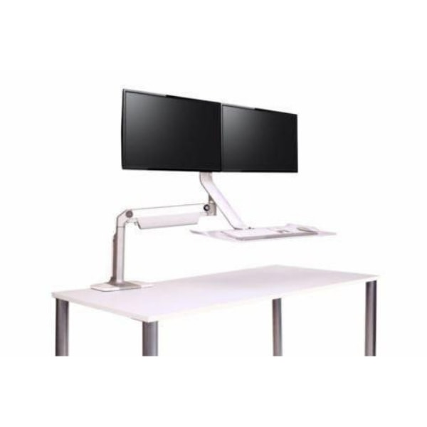 Humanscale QuickStand Lite Dual Monitor Height Adjustable Workstation Dual Monitor White