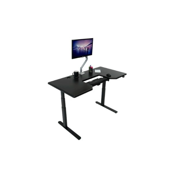 IMovR Lander Standing Desk with SteadyType Keyboard Top Front Side View