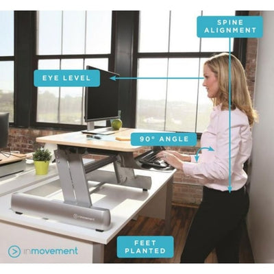InMovement Standing Desk Converter DT2 Top Side View And Posture