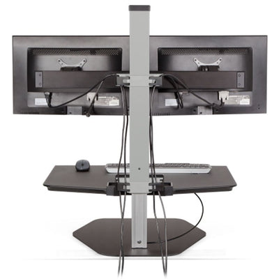 Innovative Winston Workstation Dual Monitor Sit Stand Back View