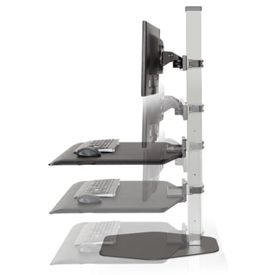 Innovative Winston Workstation Dual Monitor Sit Stand Height Setting