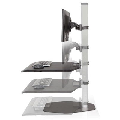 Innovative Winston Workstation Triple Monitor Sit Stand Height Setting