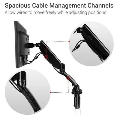 Loctek D5 Monitor Arm Cable Management Channels
