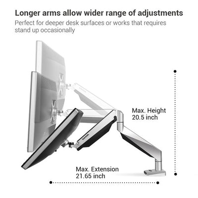 Loctek D7A Monitor Arm Max Height Max Extension