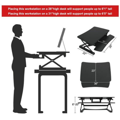 Loctek LX36 Sit-Stand Desktop Workstation Dimensions