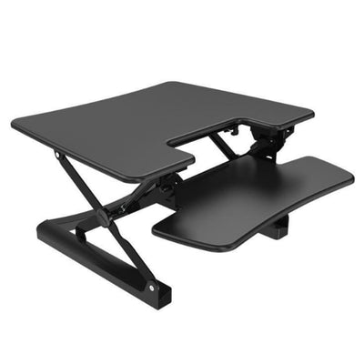 Loctek LXR30 Standing Desk Converter Top Front Side View Black