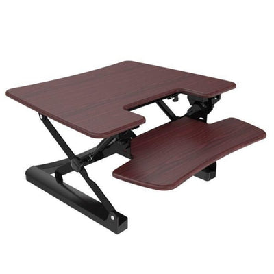 Loctek LXR30 Standing Desk Converter Top Front Side View Mahogany