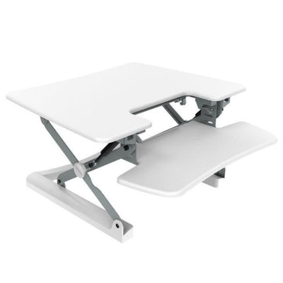 Loctek LXR30 Standing Desk Converter Top Front Side View White