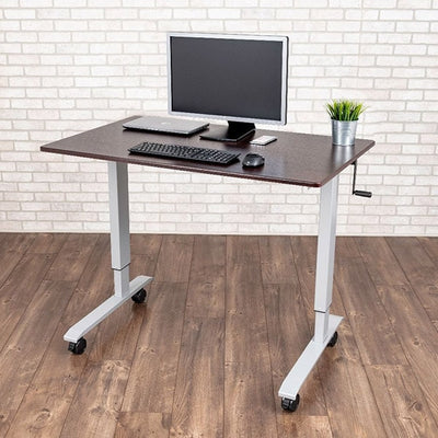 Luxor 48 Crank Adjustable Stand Up Desk 3D VIew Single Monitor