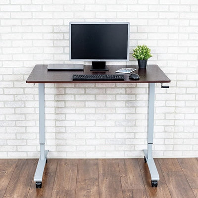 Luxor 48 Crank Adjustable Stand Up Desk Front View Single Monitor