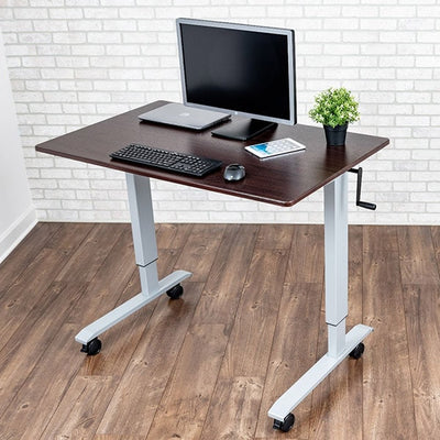 Luxor 48 Crank Adjustable Stand Up Desk Top Front Side View