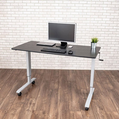 Luxor 60 Crank Adjustable Stand Up Desk 3D View Single Monitor
