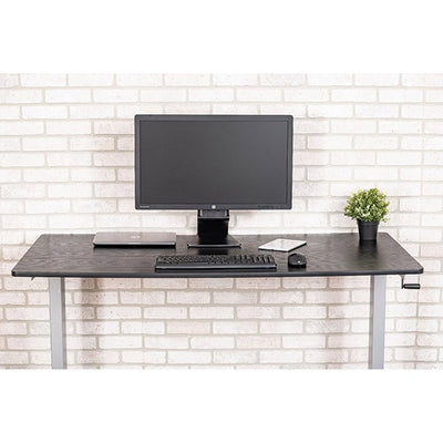 Luxor 60 Crank Adjustable Stand Up Desk Front View Single Monitor Close Up