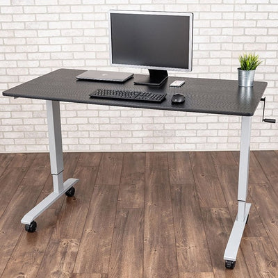Luxor 60 Crank Adjustable Stand Up Desk Top Front Side View