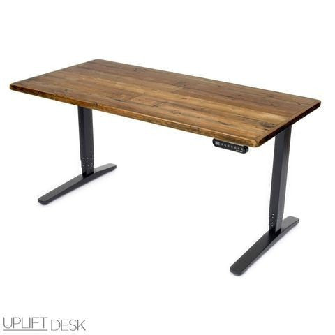 Uplift Height Adjustable Standing Desk W/ Reclaimed Wood Top   Standing Desk  Nation