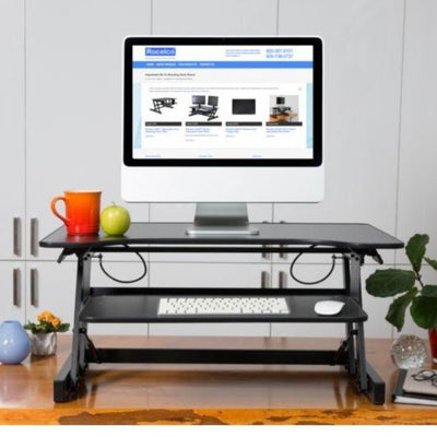 Rocelco ADR Adjustable Desk Riser Front View Single Screen