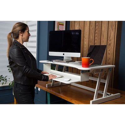 Rocelco DADR Deluxe Adjustable Desk Riser Front Side View Standing