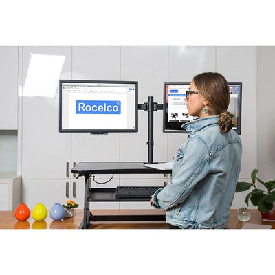 Rocelco DADR Deluxe Adjustable Desk Riser Front View Standing
