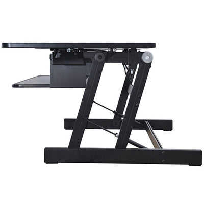Rocelco DADR Deluxe Adjustable Desk Riser Side View Raised