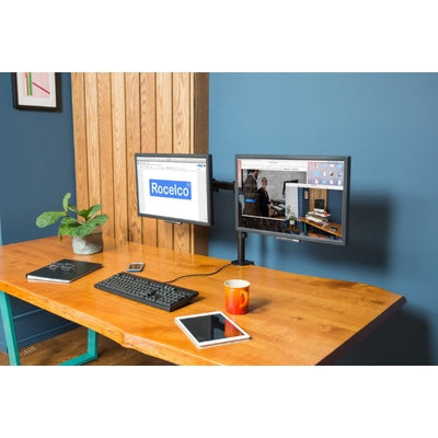 Rocelco DM2 Dual Monitor Arm Front Side View 2 Portrait