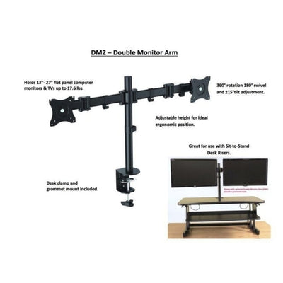 Rocelco DM2 Dual Monitor Arm With Standing Desktop Riser