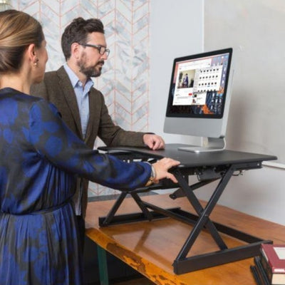 Rocelco EADR Ergonomic Adjustable Desk Riser 3D View Black 2 Models