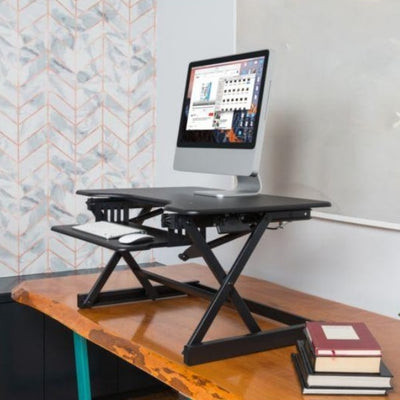 Rocelco EADR Ergonomic Adjustable Desk Riser 3D View Black Facing Left