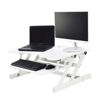 Rocelco EADR Ergonomic Adjustable Desk Riser 3D View White