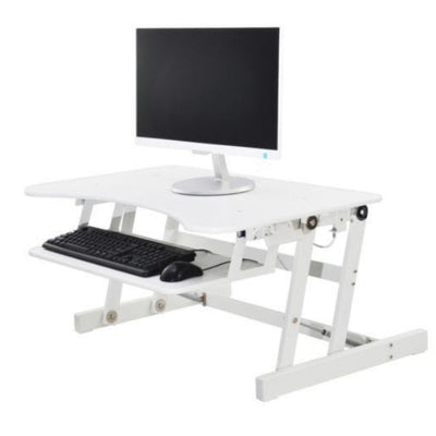 Rocelco EADR Ergonomic Adjustable Desk Riser Single Screen Facing Left White