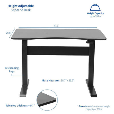 VIVO 47 Inch Pneumatic Desk Dimension