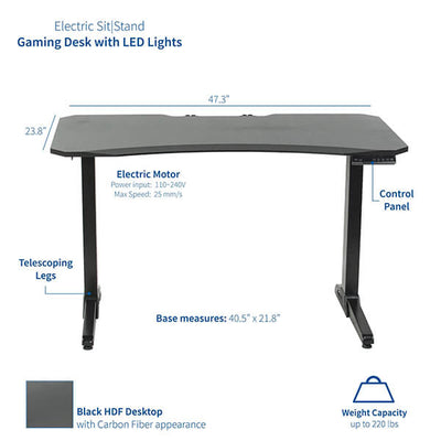VIVO Electric Sit-Stand Gaming Desk Dimension