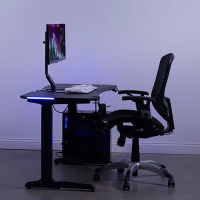 VIVO Electric Sit-Stand Gaming Desk Top Front Side View