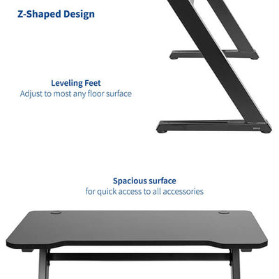 VIVO Z-Shaped 47 Gaming Computer Desk DESK-GM1ZB Spacious