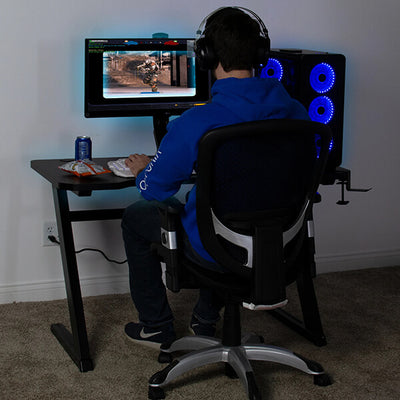 VIVO Z-Shaped 47 Gaming Computer Desk DESK-GM1ZB With Chair