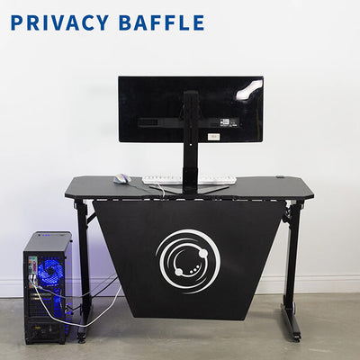 VIVO Z-Shaped 47 Gaming Computer Desk DESK-GMZ0B Front View With Logo