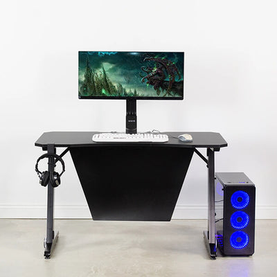 VIVO Z-Shaped 47 Gaming Computer Desk DESK-GMZ0B Front View