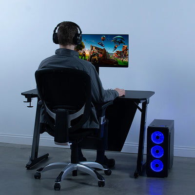 VIVO Z-Shaped 47 Gaming Computer Desk DESK-GMZ0B Loaded