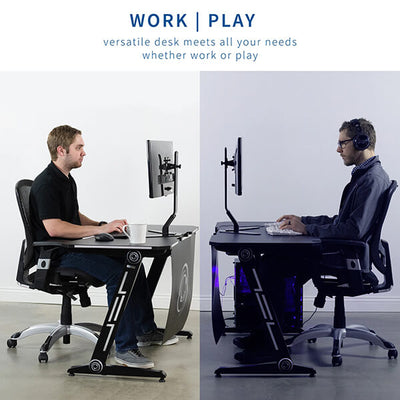 VIVO Z-Shaped 47 Gaming Computer Desk DESK-GMZ0B Work And Game