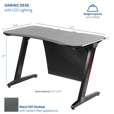 "VIVO Z-Shaped 47"" Gaming Desk with LED Lights DESK-GMZ1R Dimension"