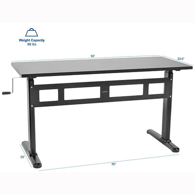 VIVO Black 55 Crank Height Adjustable Desk Dimension