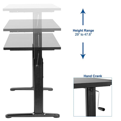 VIVO Black 55 Crank Height Adjustable Desk Height Setting